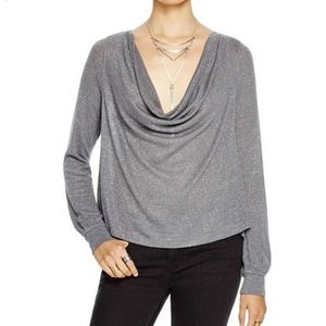 Free People Palmer Cowl Neck Tee Medium Gray